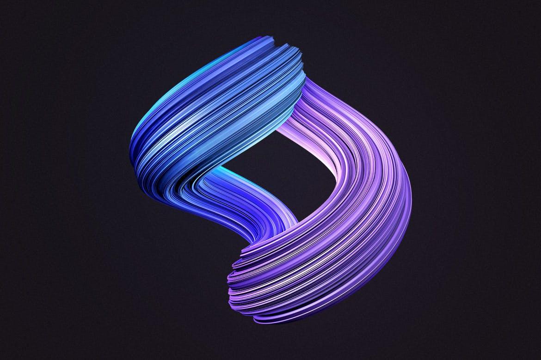 10款创意抽象炫彩3D扭曲图形PNG免扣图片设计素材 3D Twisted Decorative Shapes Backgrounds插图(6)