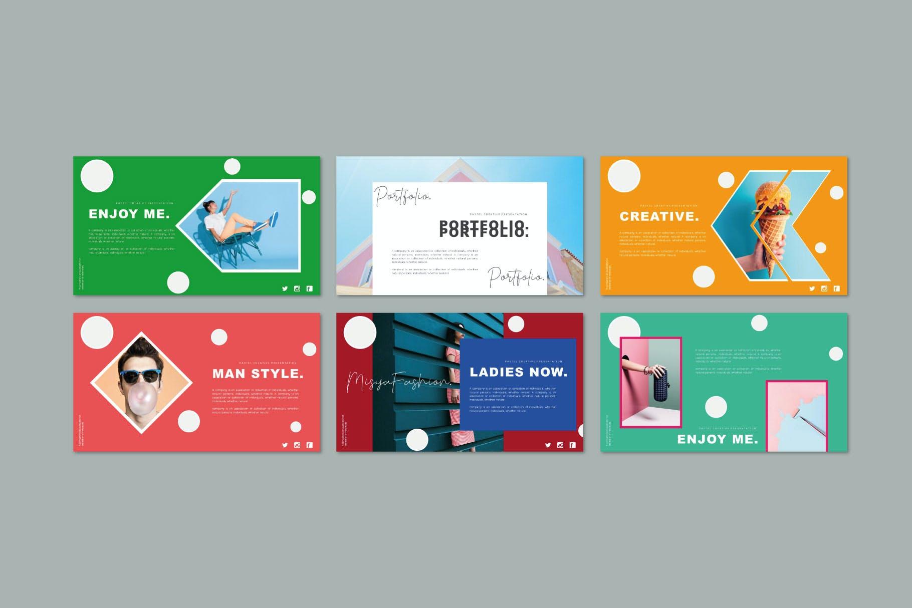 时尚多彩策划案图文排版设计演示文稿模板 Misya – Powerpoint Template插图(6)