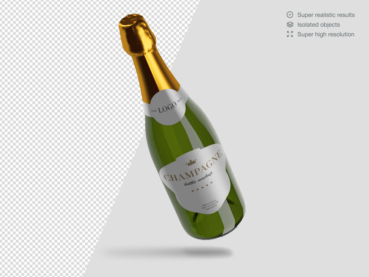 16款香槟酒瓶设计展示样机PSD模板 Champagne Bottle Mockup Pack插图
