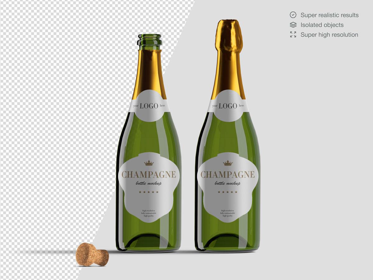 16款香槟酒瓶设计展示样机PSD模板 Champagne Bottle Mockup Pack插图(2)