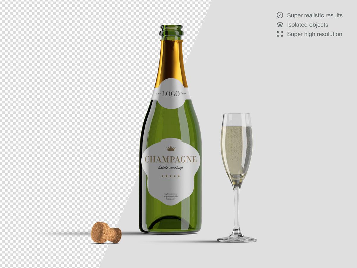 16款香槟酒瓶设计展示样机PSD模板 Champagne Bottle Mockup Pack插图(3)