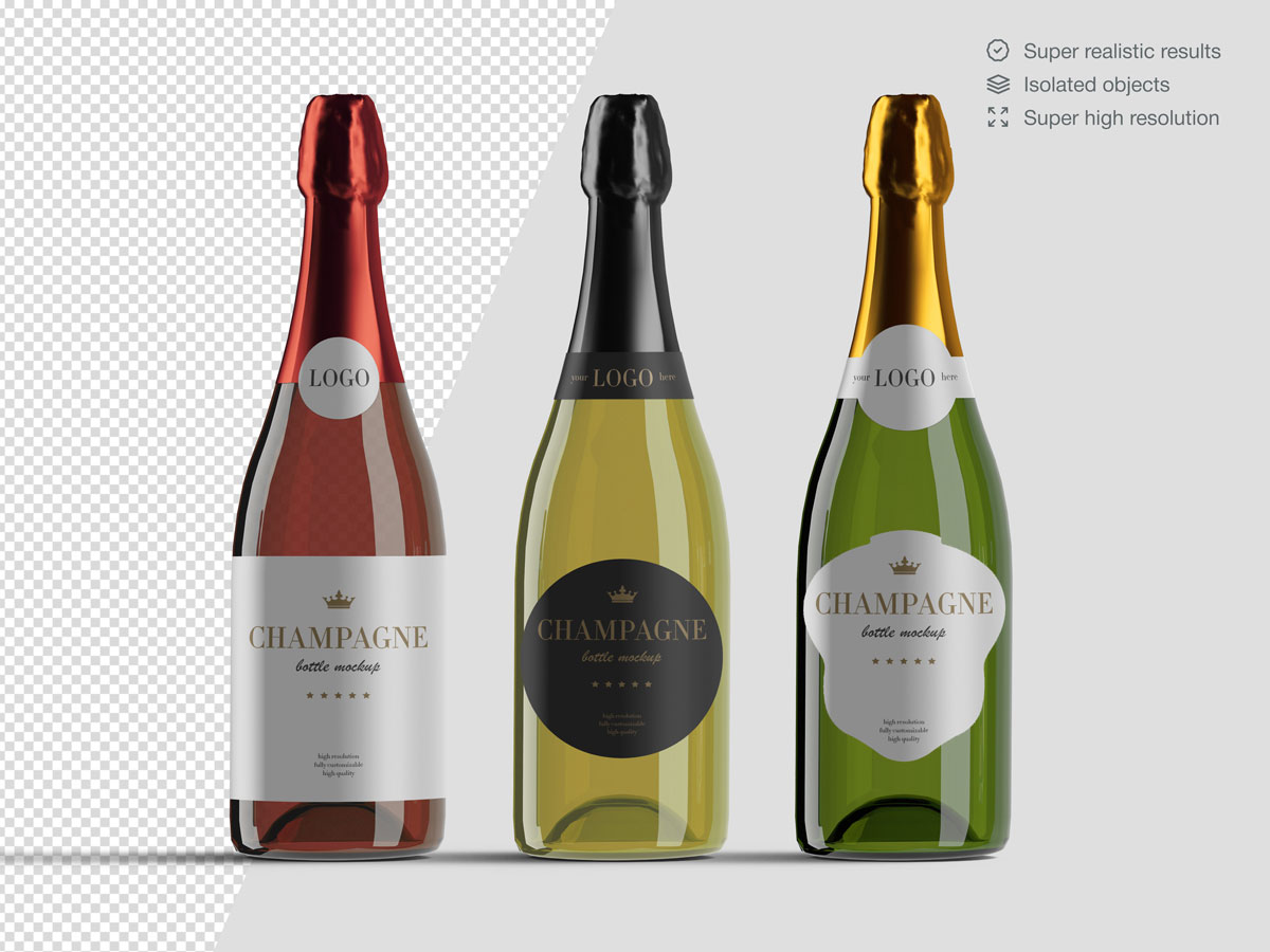 16款香槟酒瓶设计展示样机PSD模板 Champagne Bottle Mockup Pack插图(4)