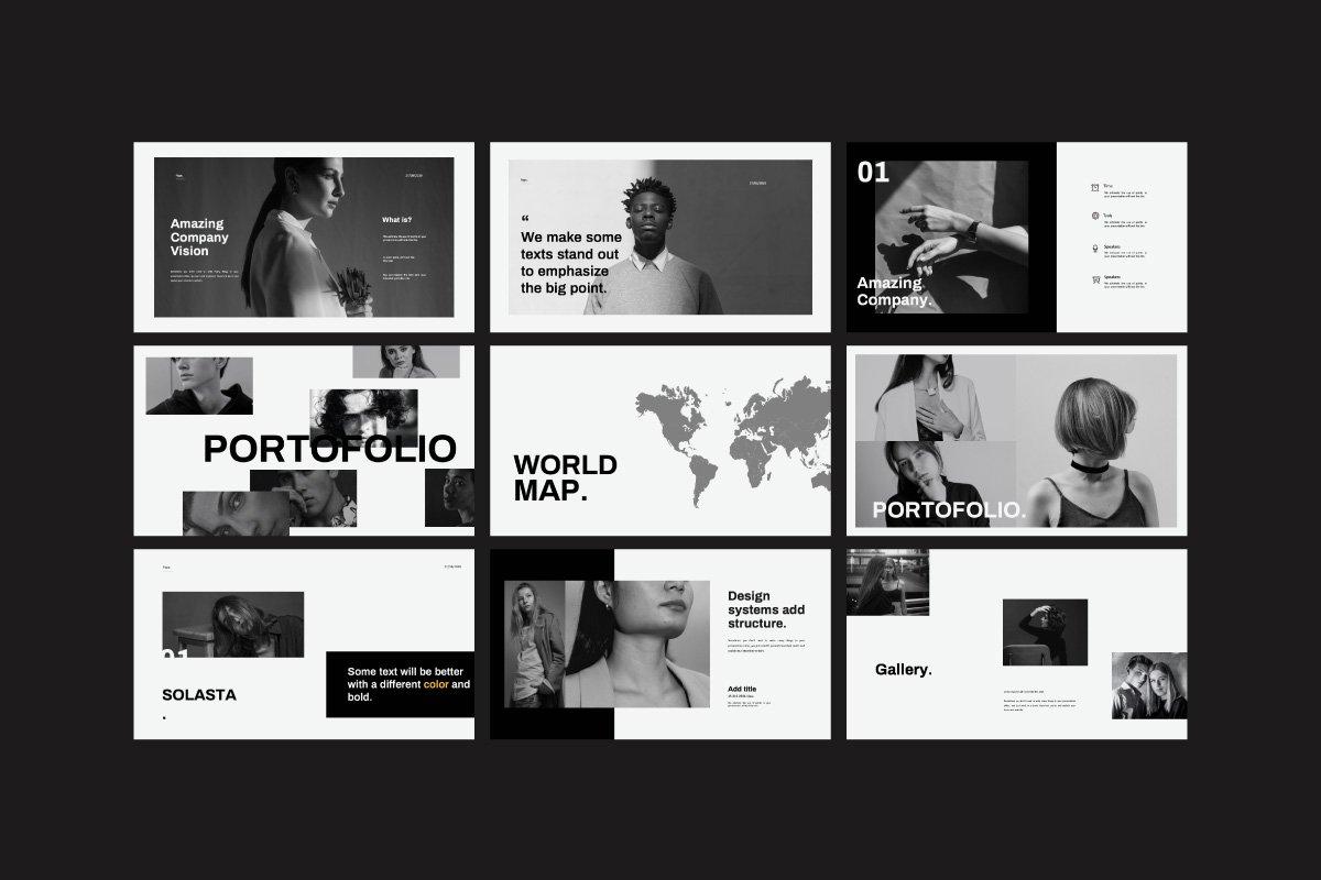 黑白调摄影作品集设计演示文稿模板 Solasta – Powerpoint插图(7)
