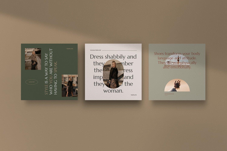 时尚优雅服装品牌推广新媒体电商海报设计PSD模板 Yohzan Instagram Post & Story Brand插图(7)