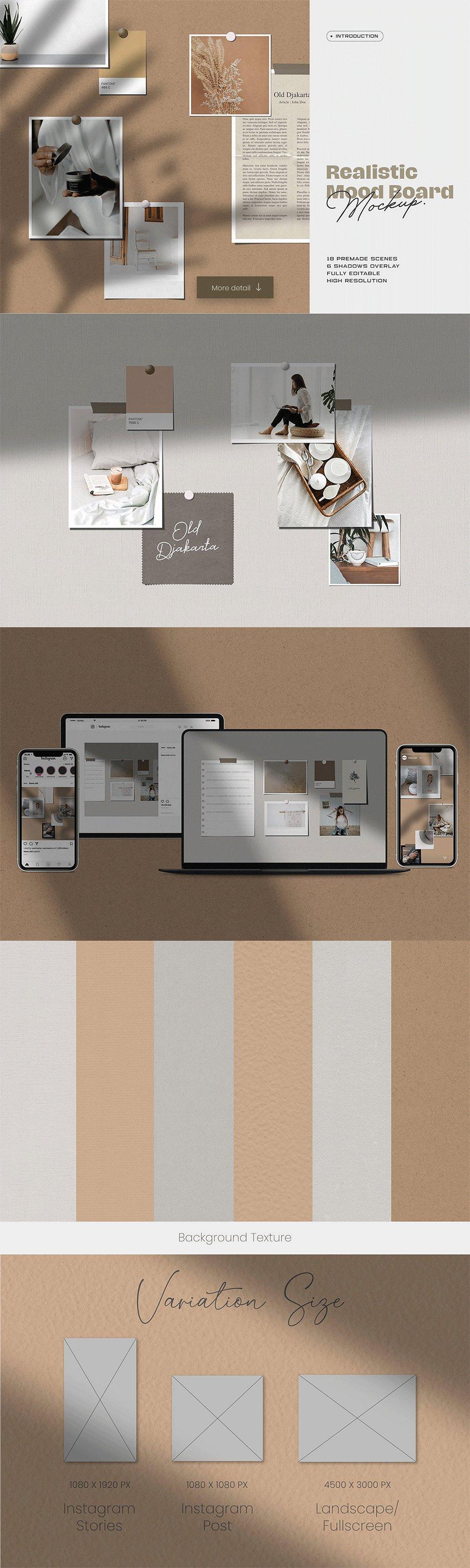 [淘宝购买] 10套文艺情绪板摄影相片卡片拼贴设计PSD源文件 Bundle Moodboard Mockup V2插图(7)