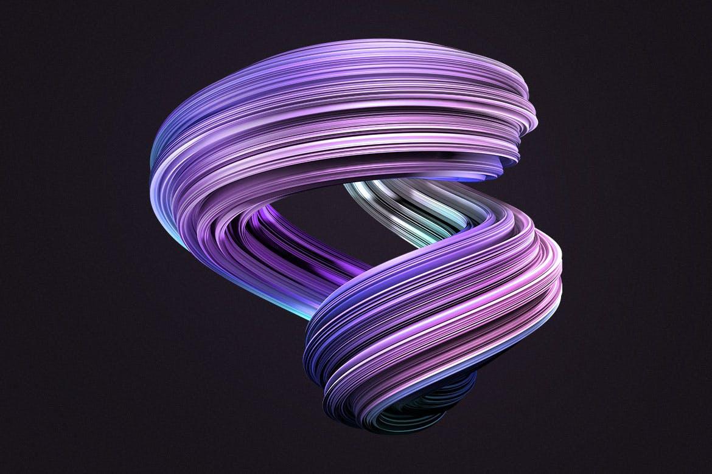 10款创意抽象炫彩3D扭曲图形PNG免扣图片设计素材 3D Twisted Decorative Shapes Backgrounds插图(7)