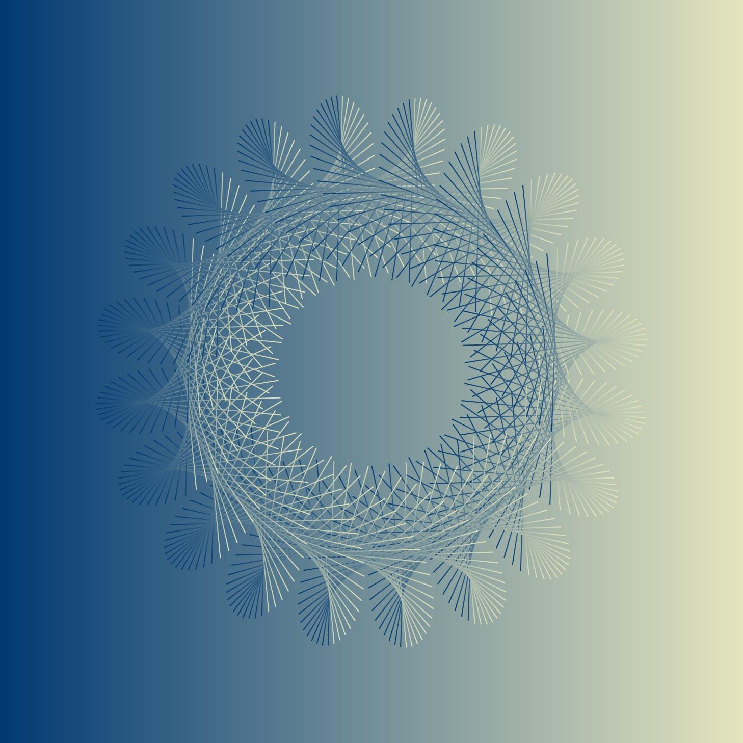 8款螺旋状线条网格矢量图案素材 Geometric Spiral Collection插图(7)