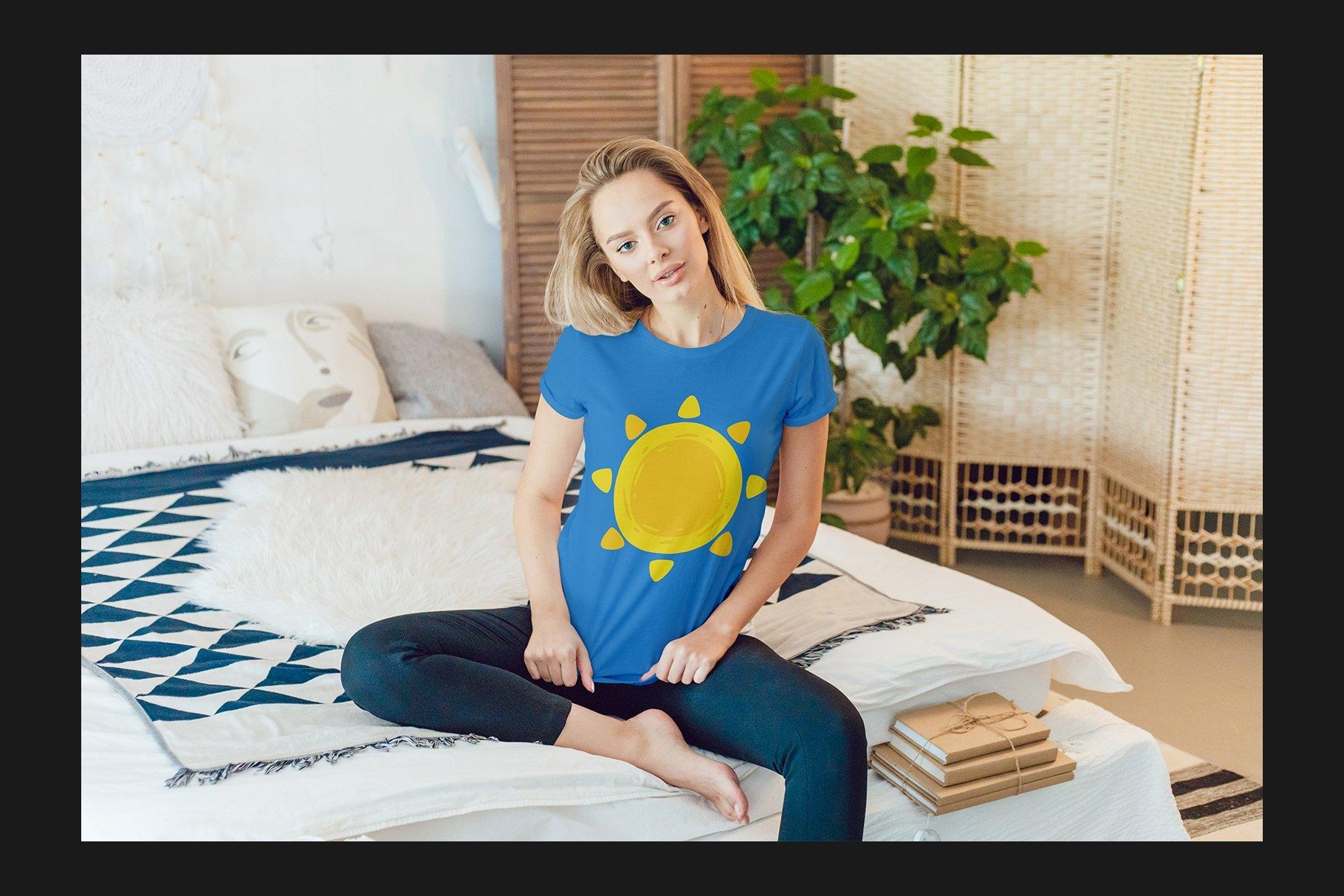 12个女式T恤半袖衫印花图案设计展示样机模板 T-Shirt Mockup Set插图(7)