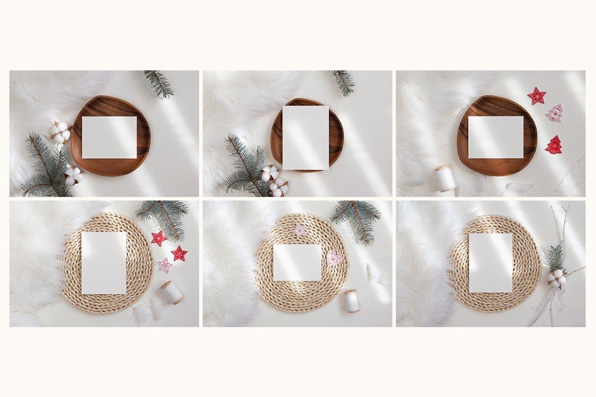 23款简约带阴影圣诞节贺卡卡片样机套装 Christmas Bundle Card Mockup插图(7)