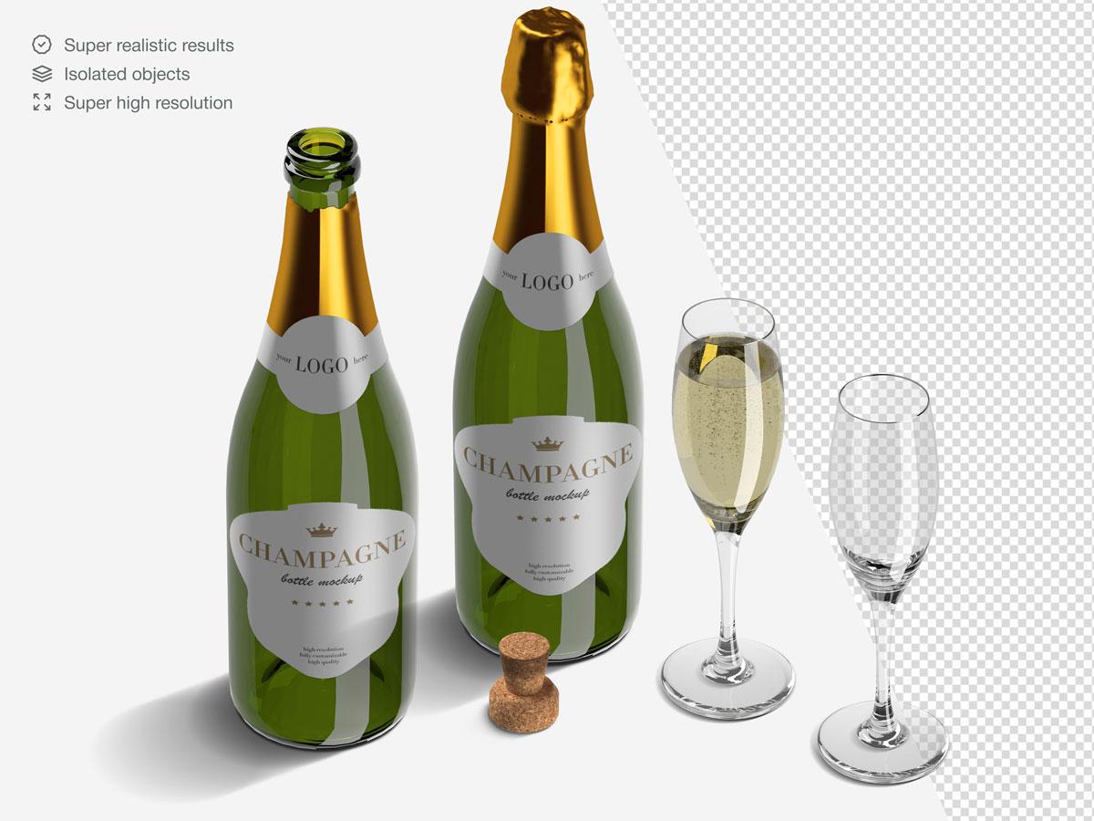 16款香槟酒瓶设计展示样机PSD模板 Champagne Bottle Mockup Pack插图(5)