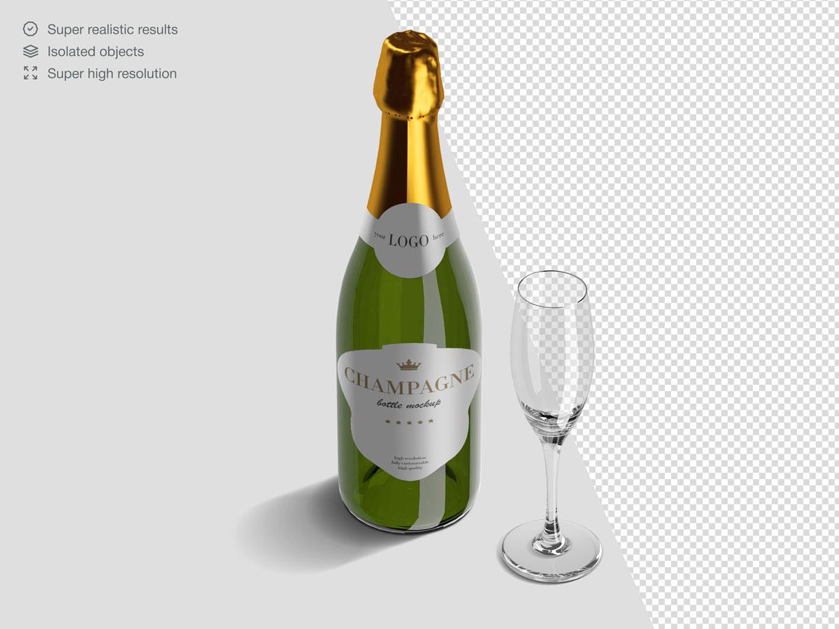16款香槟酒瓶设计展示样机PSD模板 Champagne Bottle Mockup Pack插图(6)