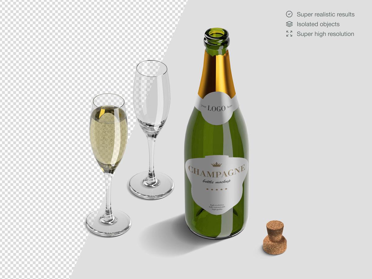 16款香槟酒瓶设计展示样机PSD模板 Champagne Bottle Mockup Pack插图(7)