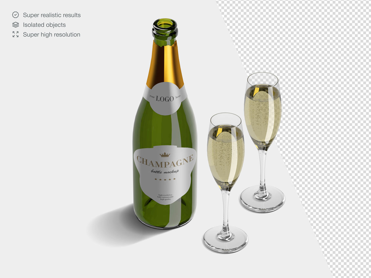 16款香槟酒瓶设计展示样机PSD模板 Champagne Bottle Mockup Pack插图(8)