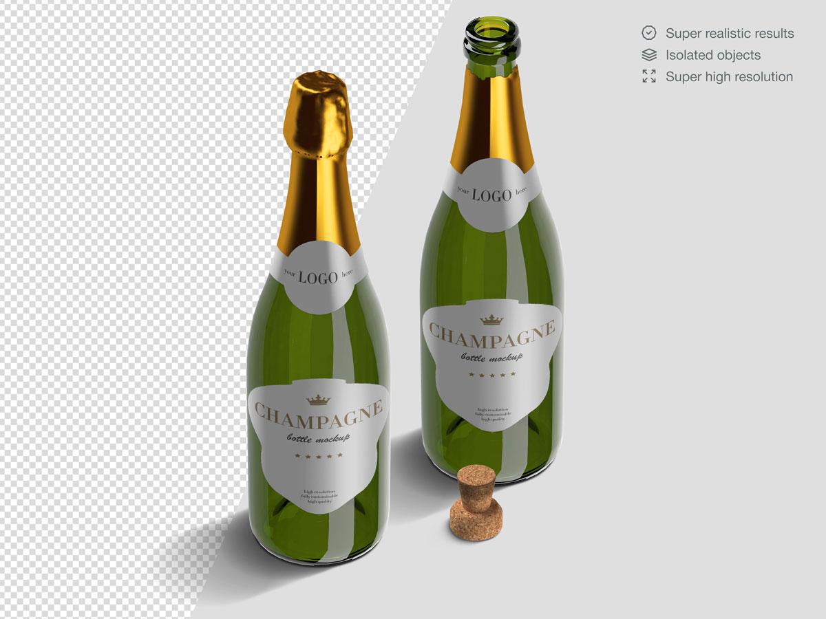 16款香槟酒瓶设计展示样机PSD模板 Champagne Bottle Mockup Pack插图(9)