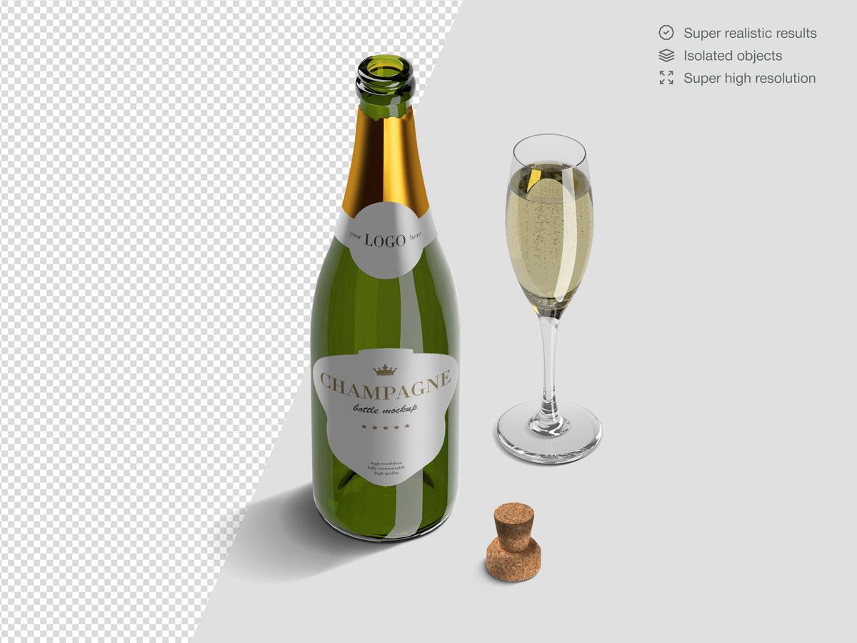 16款香槟酒瓶设计展示样机PSD模板 Champagne Bottle Mockup Pack插图(10)