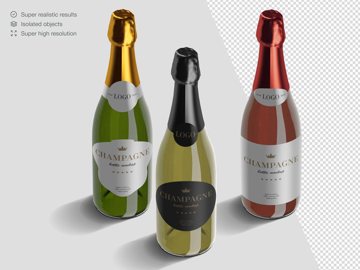 16款香槟酒瓶设计展示样机PSD模板 Champagne Bottle Mockup Pack插图(11)