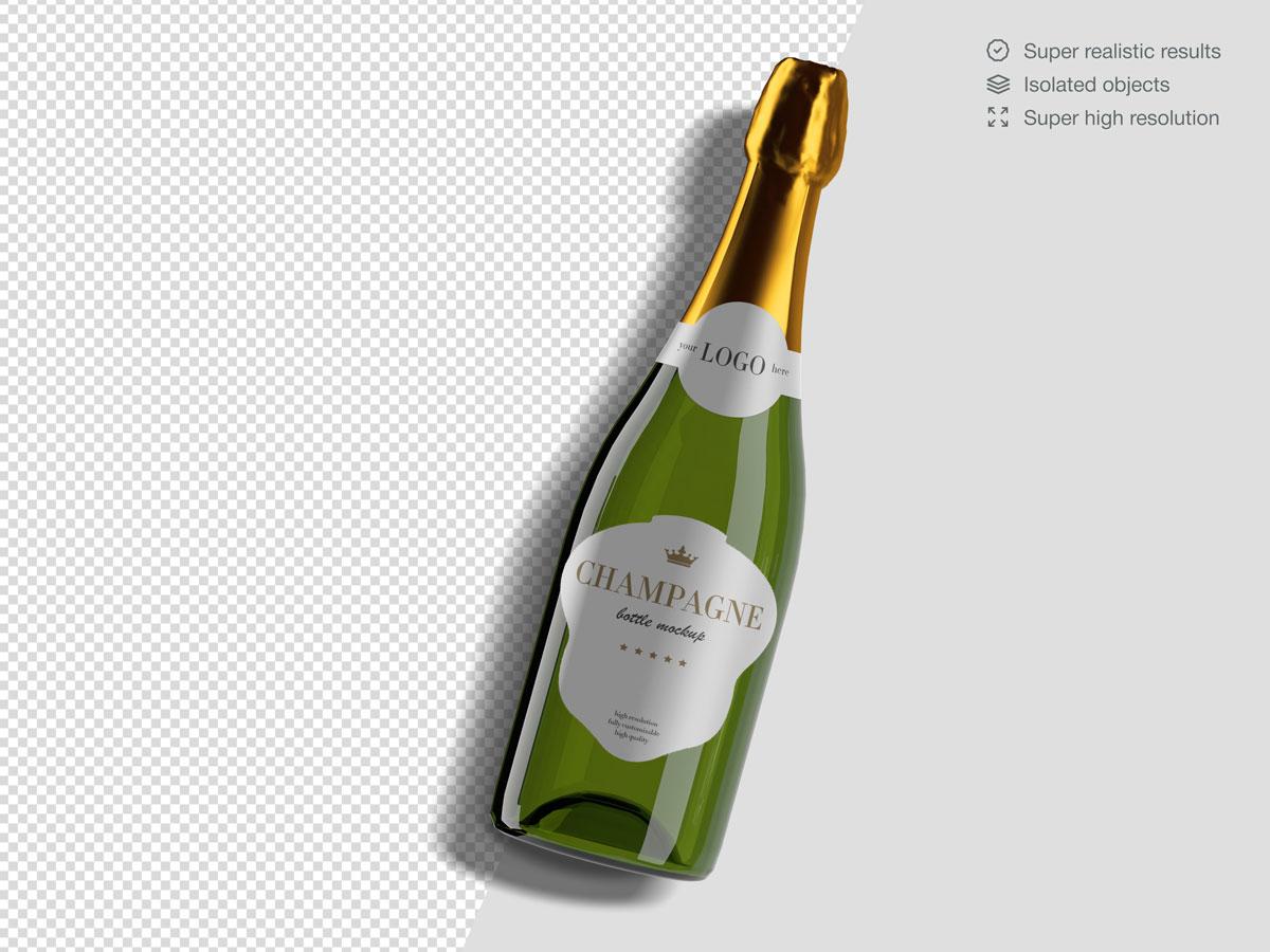16款香槟酒瓶设计展示样机PSD模板 Champagne Bottle Mockup Pack插图(12)