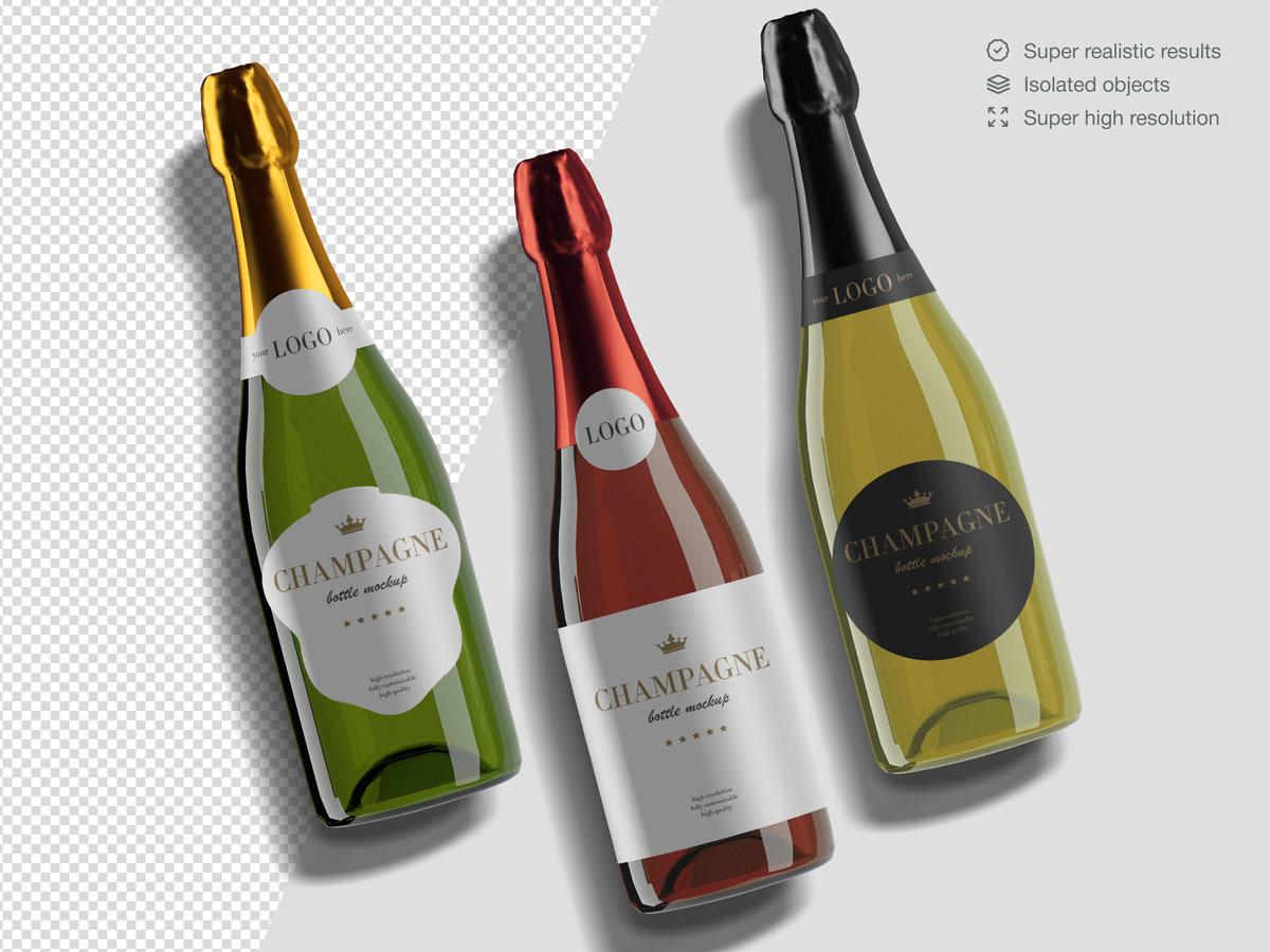 16款香槟酒瓶设计展示样机PSD模板 Champagne Bottle Mockup Pack插图(14)