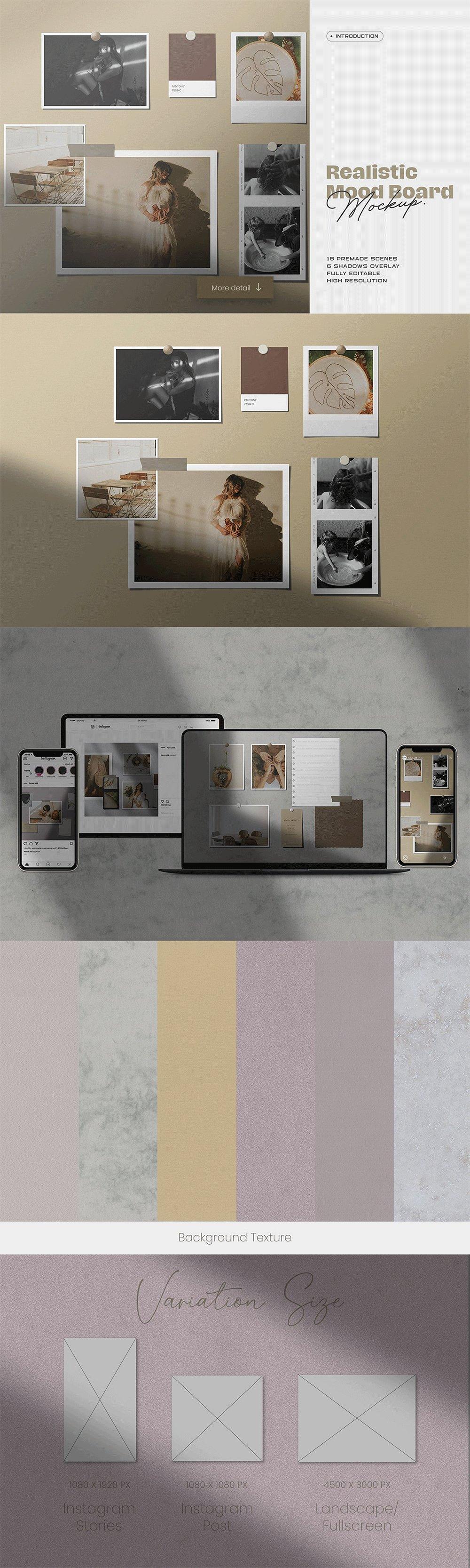 [淘宝购买] 10套文艺情绪板摄影相片卡片拼贴设计PSD源文件 Bundle Moodboard Mockup V2插图(8)