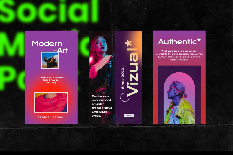 潮流街头潮牌推广新媒体电商海报设计模板 VIZUAL – Street Urban Social Media插图(8)