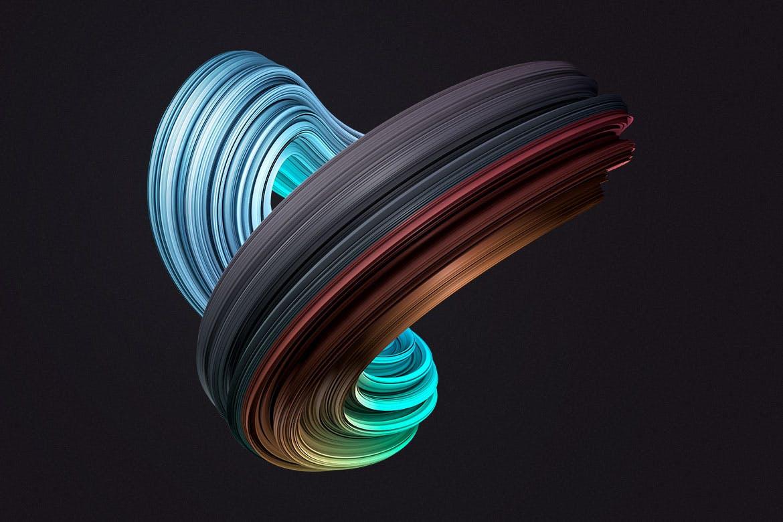 10款创意抽象炫彩3D扭曲图形PNG免扣图片设计素材 3D Twisted Decorative Shapes Backgrounds插图(8)
