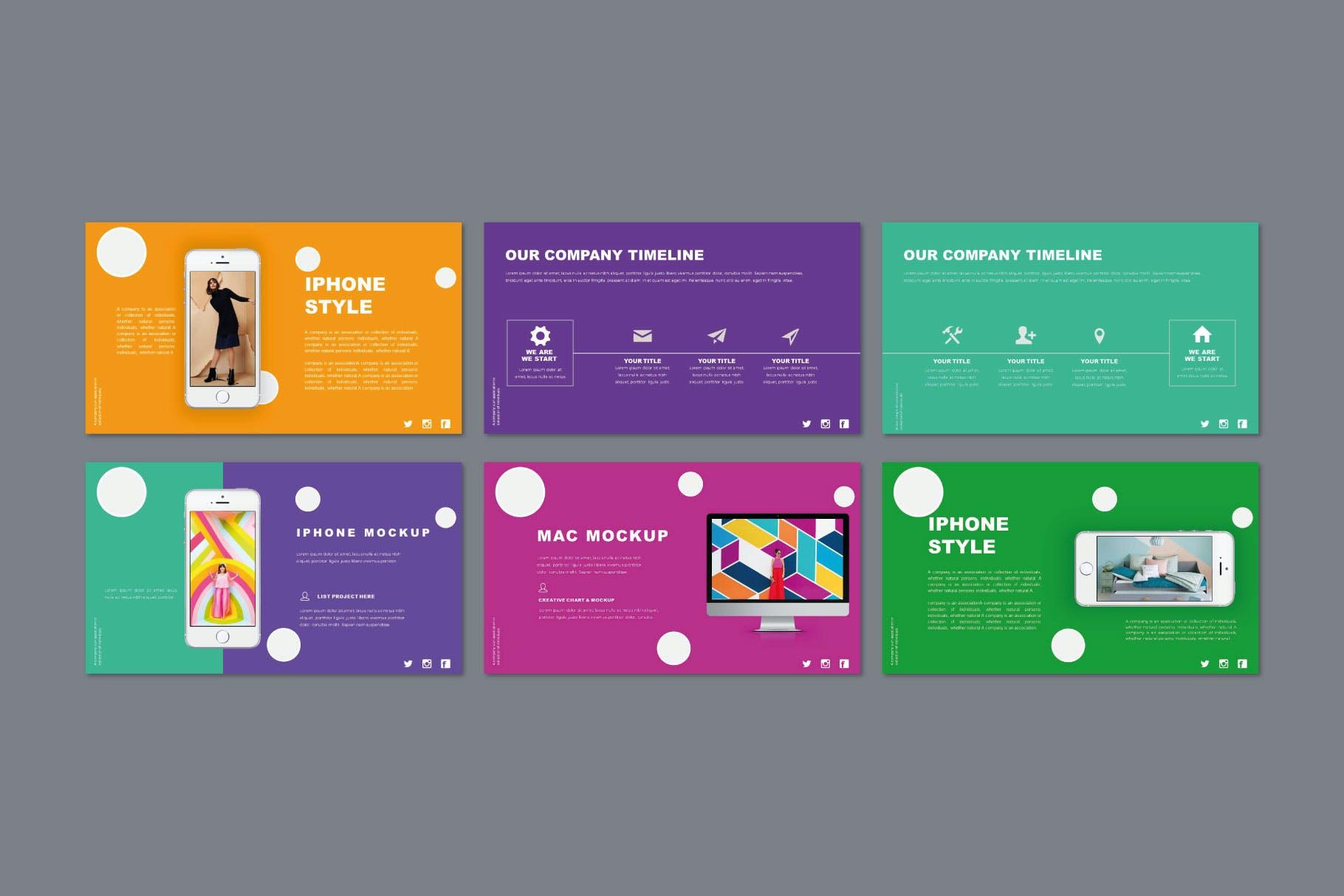 时尚多彩策划案图文排版设计演示文稿模板 Misya – Powerpoint Template插图(8)