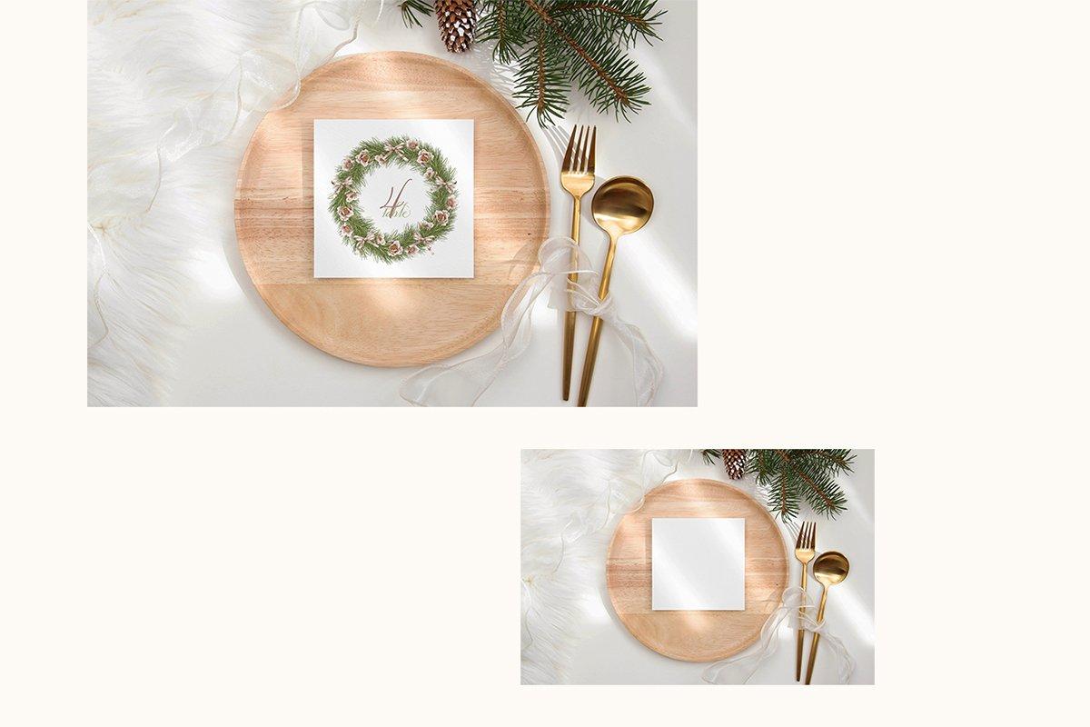 23款简约带阴影圣诞节贺卡卡片样机套装 Christmas Bundle Card Mockup插图(8)