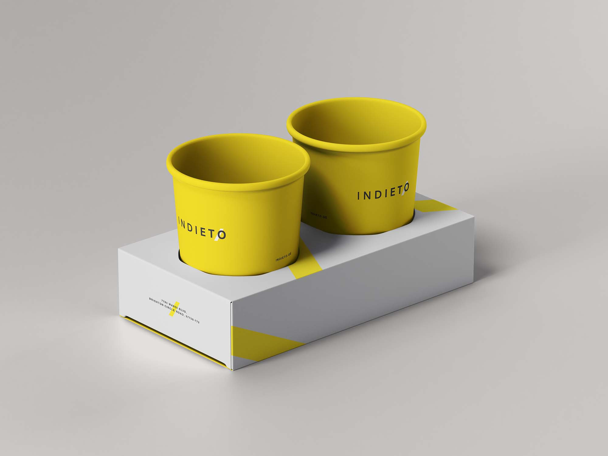 一次性外卖纸杯设计展示样机模板 Paper Cup Holder Mockup插图