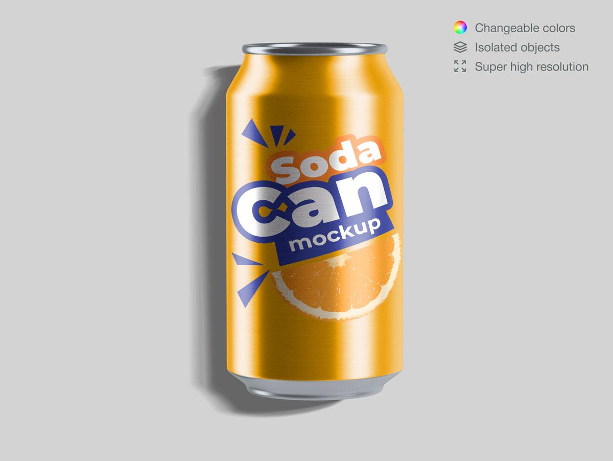 15款饮料苏打水易拉罐设计展示样机合集 Soda Can Mockup Pack插图(10)