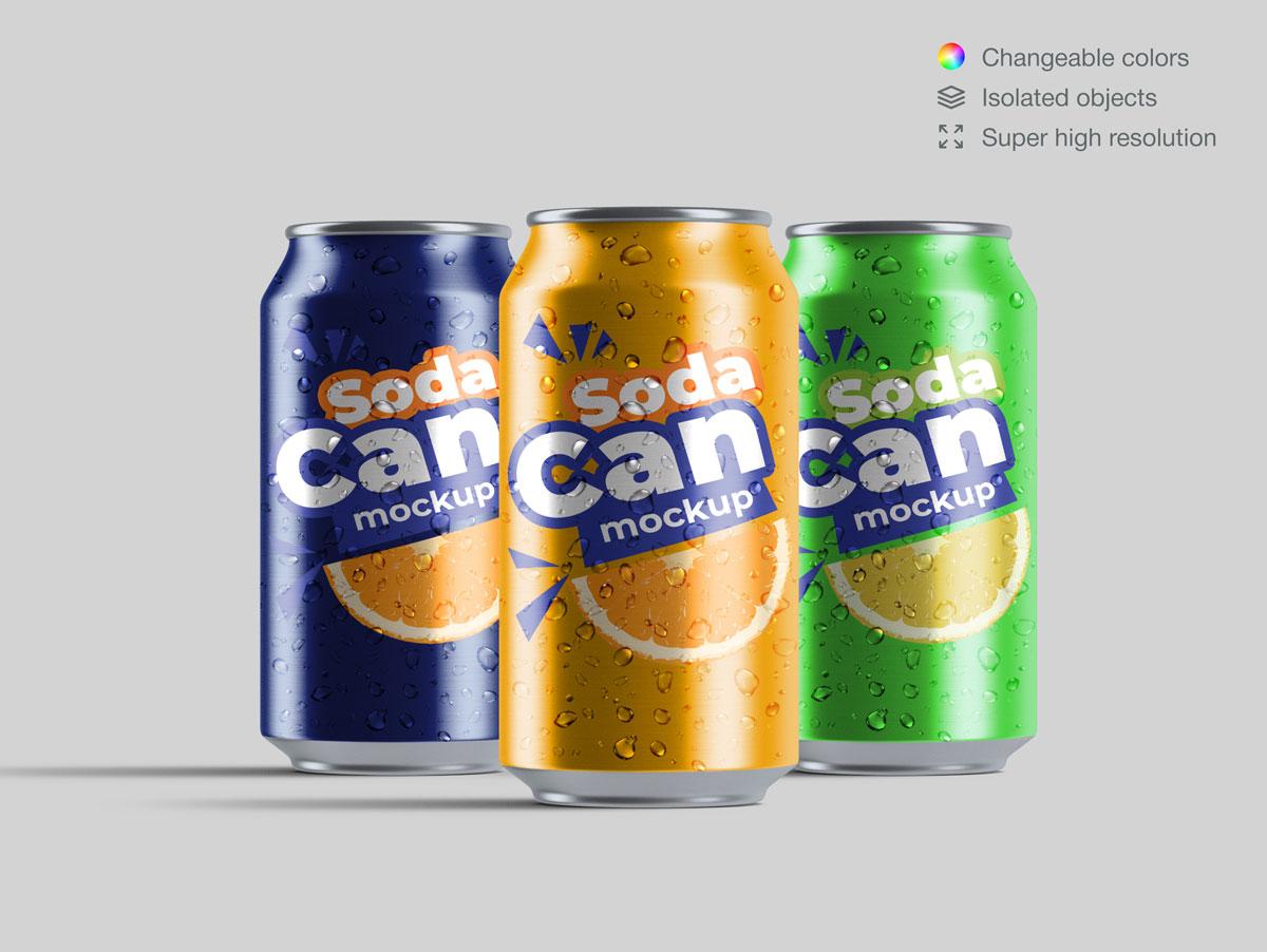 15款饮料苏打水易拉罐设计展示样机合集 Soda Can Mockup Pack插图(12)