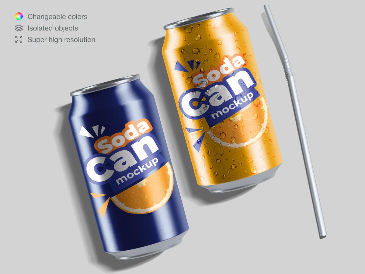 15款饮料苏打水易拉罐设计展示样机合集 Soda Can Mockup Pack插图(14)
