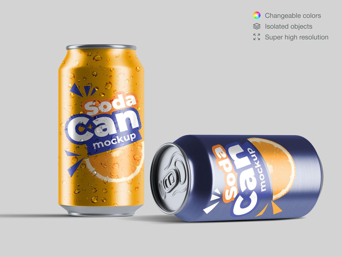15款饮料苏打水易拉罐设计展示样机合集 Soda Can Mockup Pack插图(3)