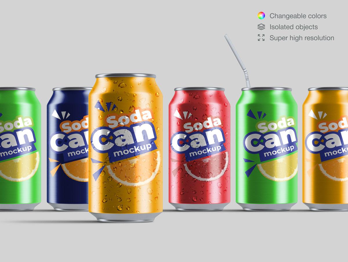 15款饮料苏打水易拉罐设计展示样机合集 Soda Can Mockup Pack插图(5)