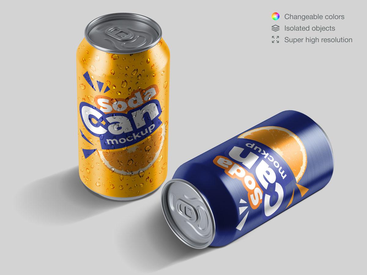 15款饮料苏打水易拉罐设计展示样机合集 Soda Can Mockup Pack插图(6)