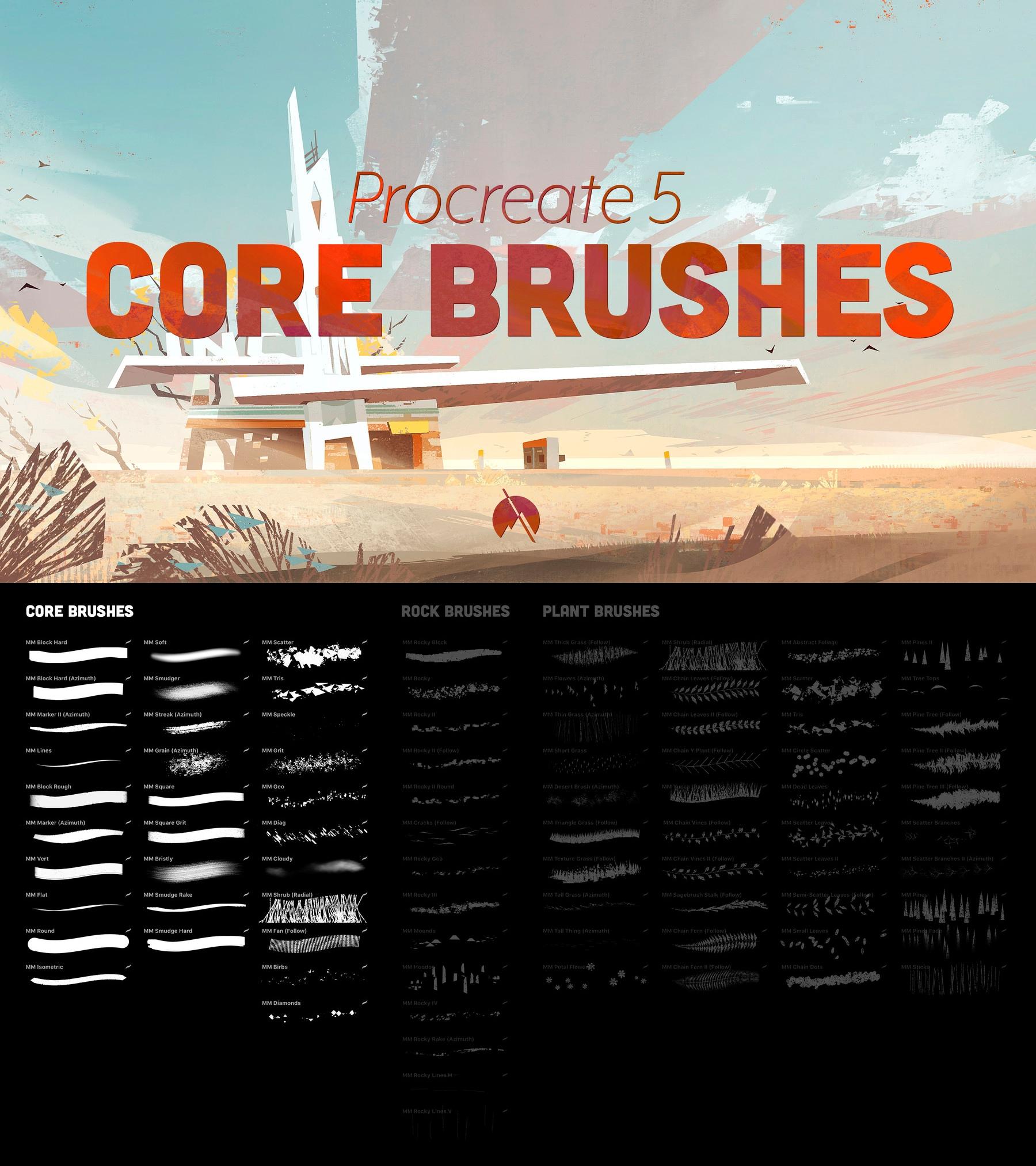 29个树叶小草不规则绘画画笔Procreate笔刷 CORE Brushes – 29 Custom Brushes For Procreate 5插图