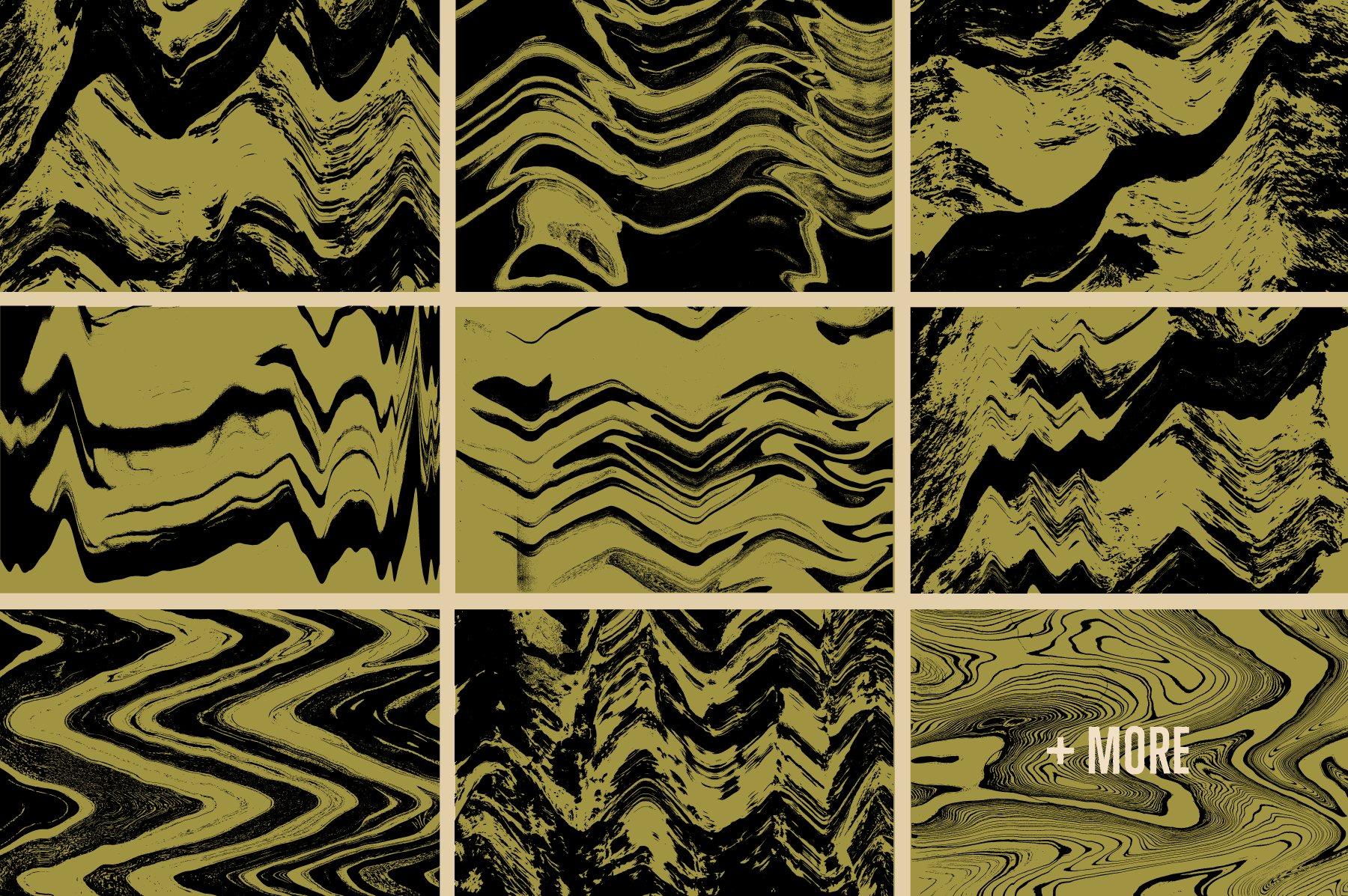 16款酸色调扭曲故障复制纹理平面广告设计背景矢量素材 Acid Tone Warped Copy Textures插图(2)