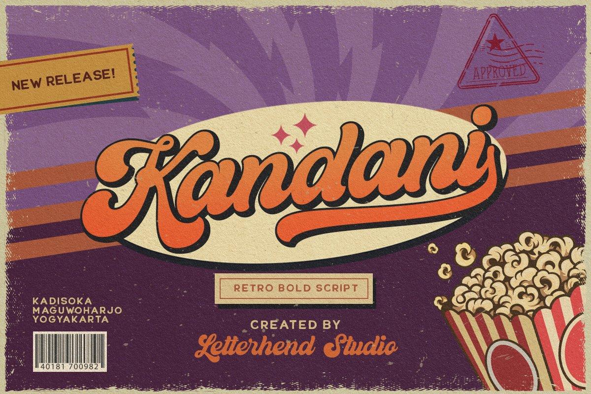 60年代复古粗体标题徽标设计英文字体 Kandani – Retro Bold Script插图