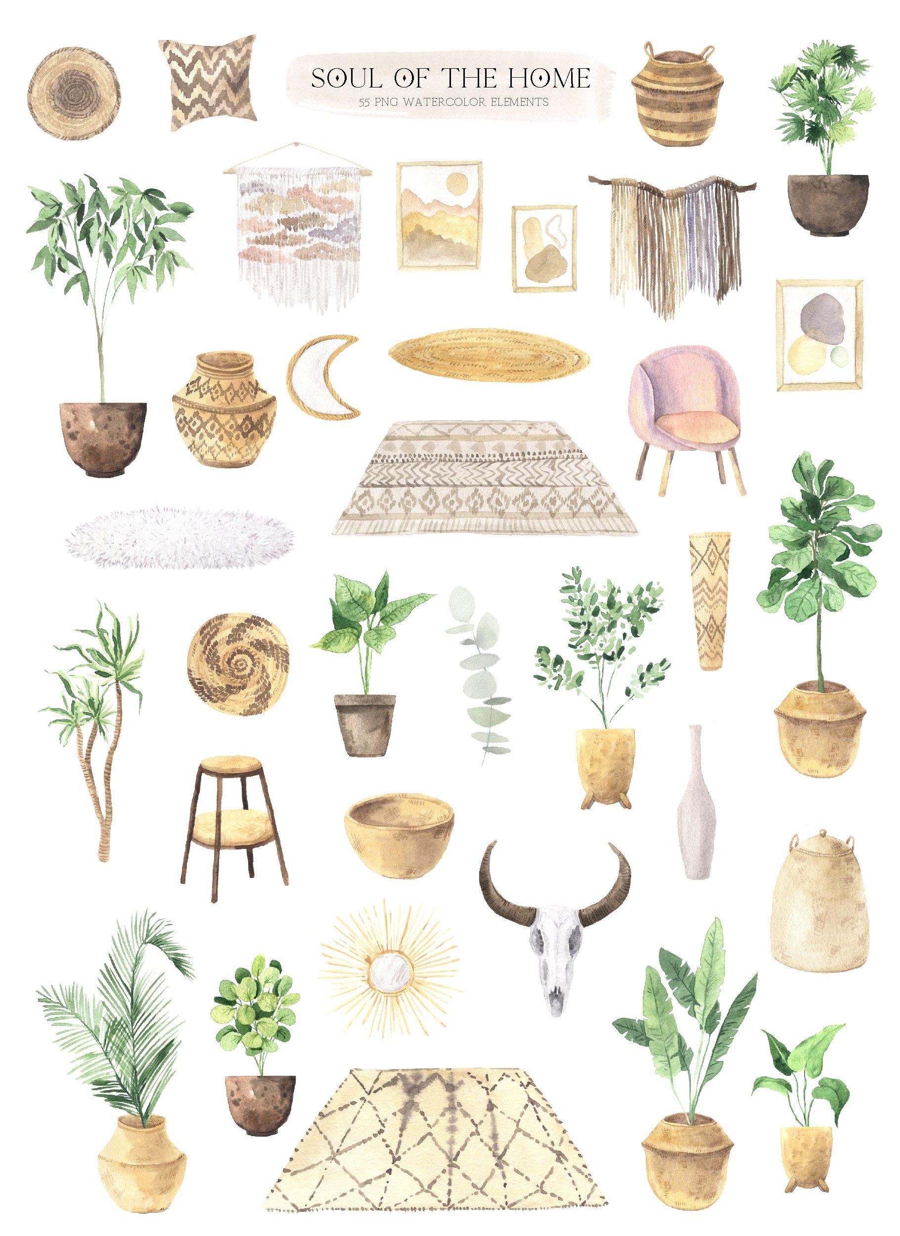 现代新潮手绘波西米亚风室内盆栽植物水彩剪贴画PNG免抠图片素材 Boho Home Interior Clipart插图(1)