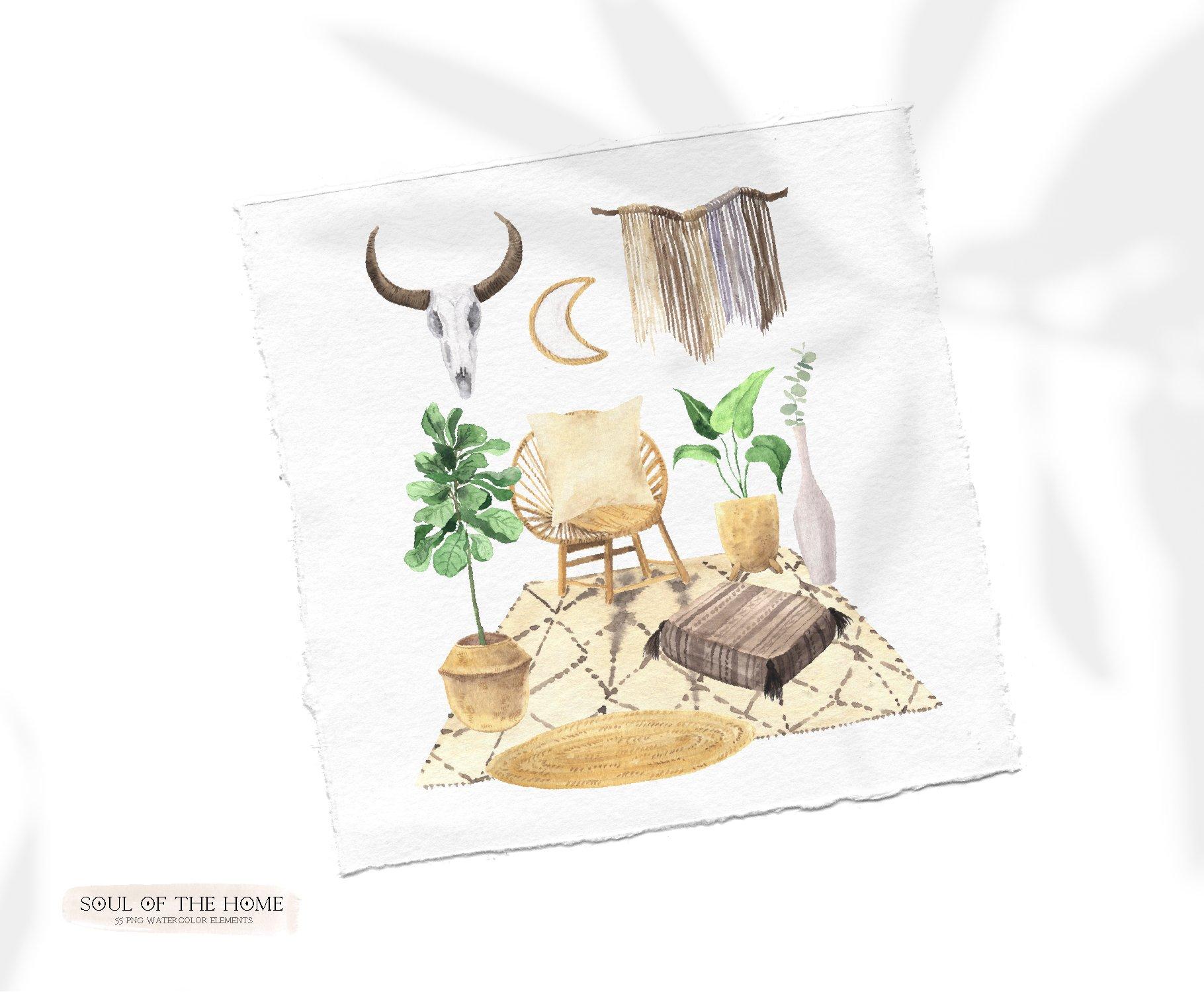 现代新潮手绘波西米亚风室内盆栽植物水彩剪贴画PNG免抠图片素材 Boho Home Interior Clipart插图(3)