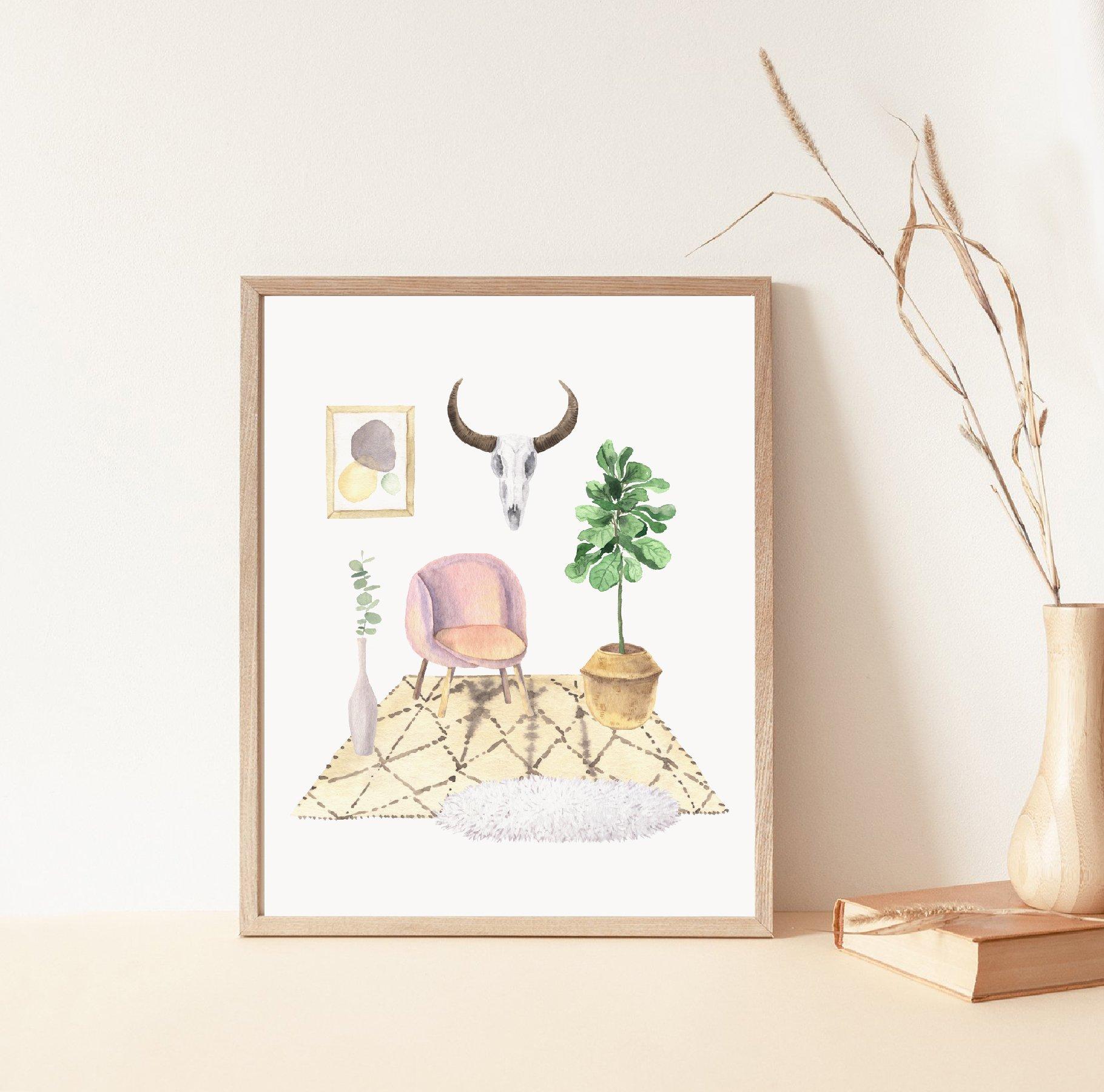 现代新潮手绘波西米亚风室内盆栽植物水彩剪贴画PNG免抠图片素材 Boho Home Interior Clipart插图(6)