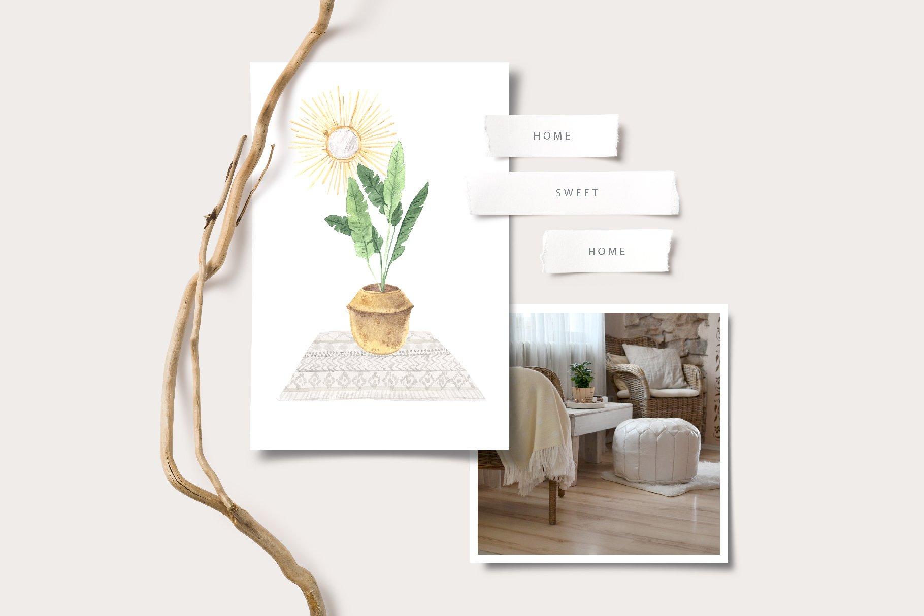 现代新潮手绘波西米亚风室内盆栽植物水彩剪贴画PNG免抠图片素材 Boho Home Interior Clipart插图(7)