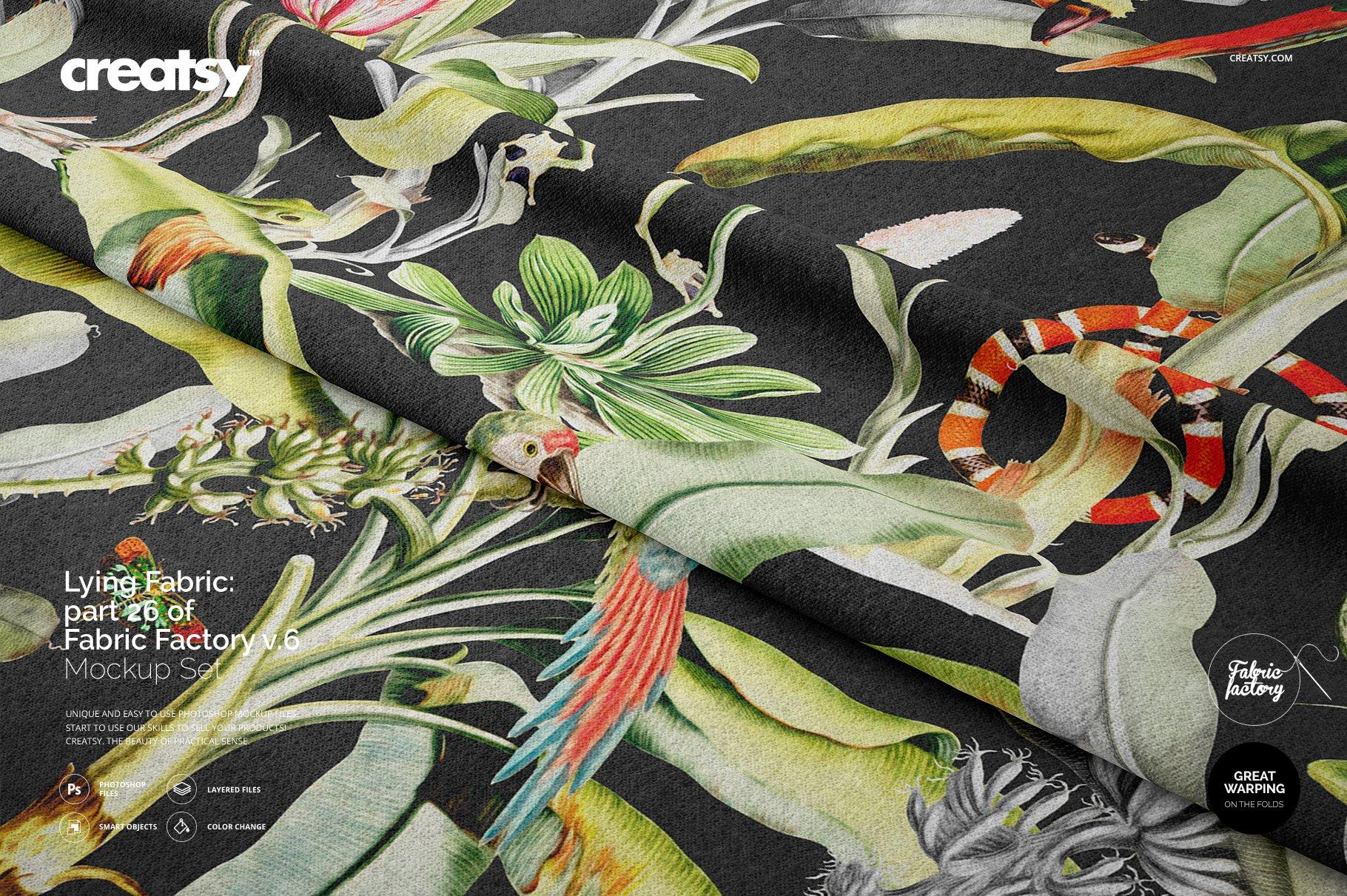 褶皱纺织面料印花图案设计展示样机模板 Lying Fabric Mockup 26/FF v.6插图