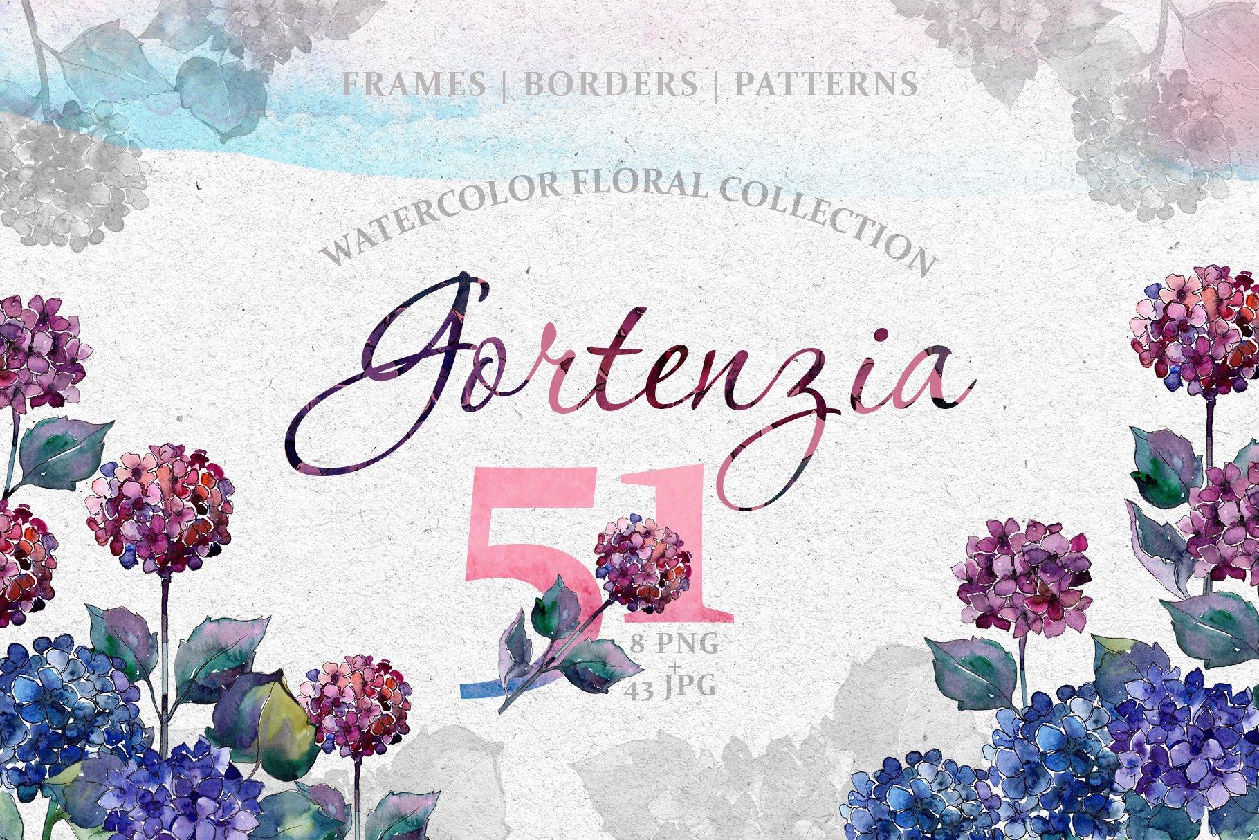 51个花卉植物水彩剪贴画插图图片素材 Gortenzia Magic Watercolor PNG插图