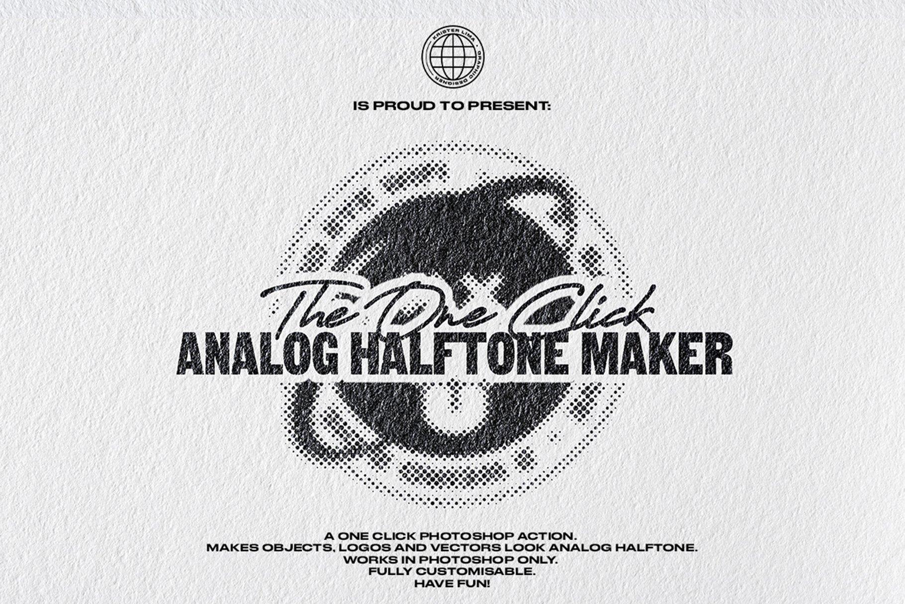 [淘宝购买] 潮流复古半调波点效果文字图形设计处理一键式PS动作 The One Click Analog Halftone Maker插图