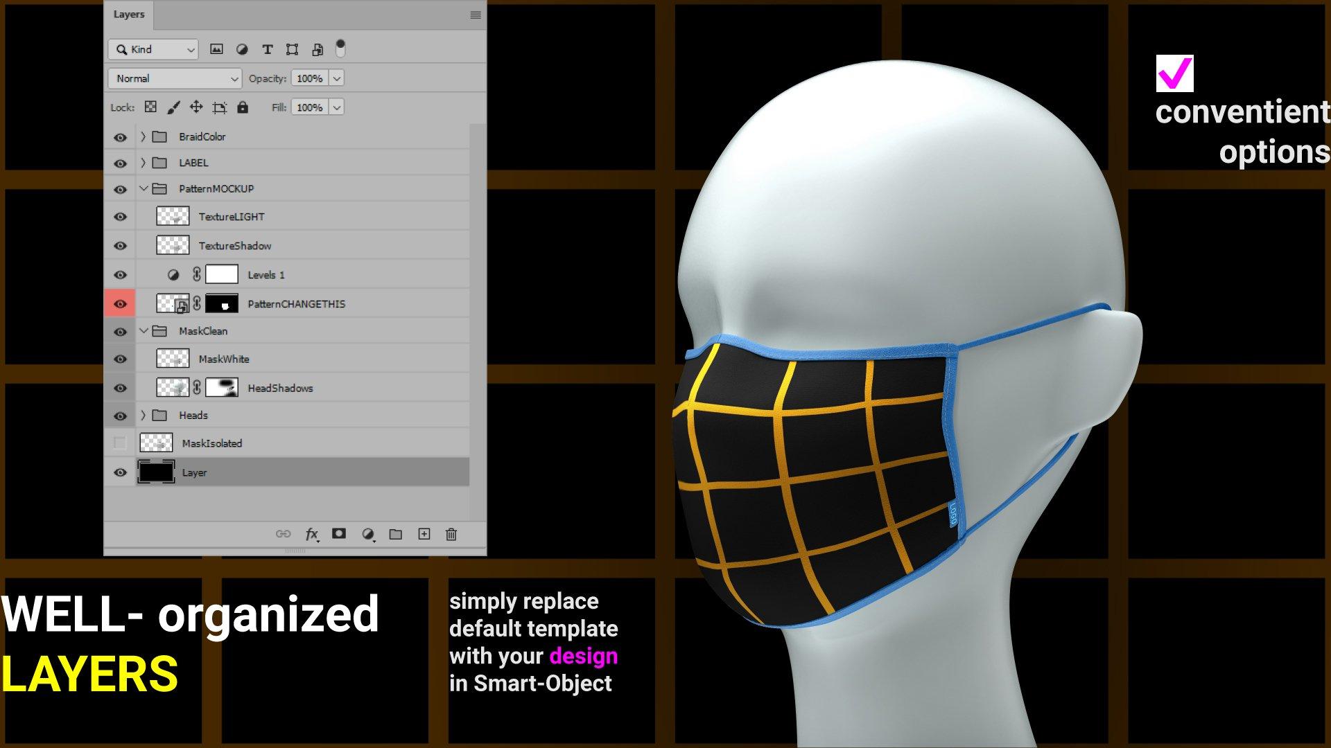 一次性防护面罩口罩印花图案设计展示样机 Facial Mask Mockup插图(1)