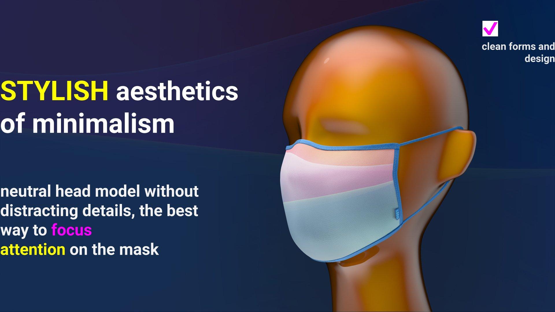 一次性防护面罩口罩印花图案设计展示样机 Facial Mask Mockup插图(5)