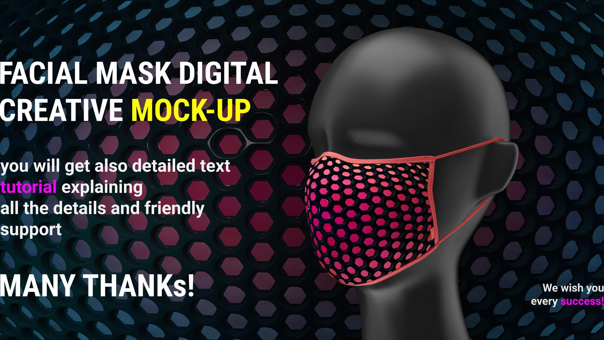 一次性防护面罩口罩印花图案设计展示样机 Facial Mask Mockup插图(6)