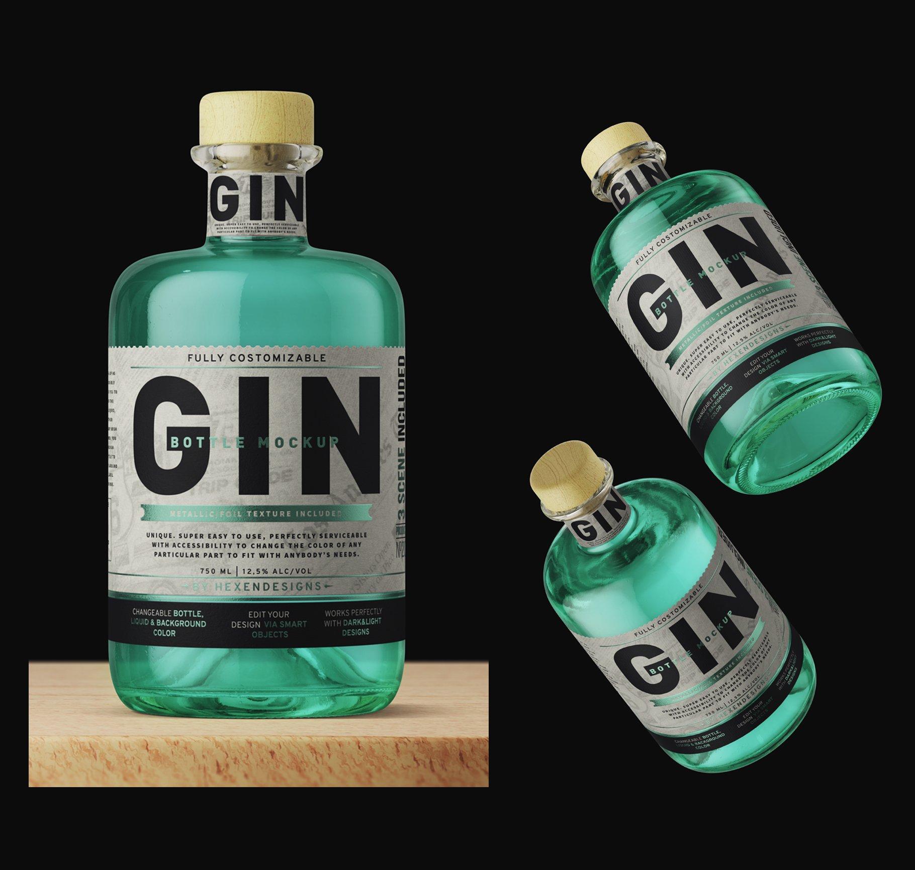 杜松子玻璃酒瓶标签设计展示样机模板 Gin Bottle Mockup插图(1)