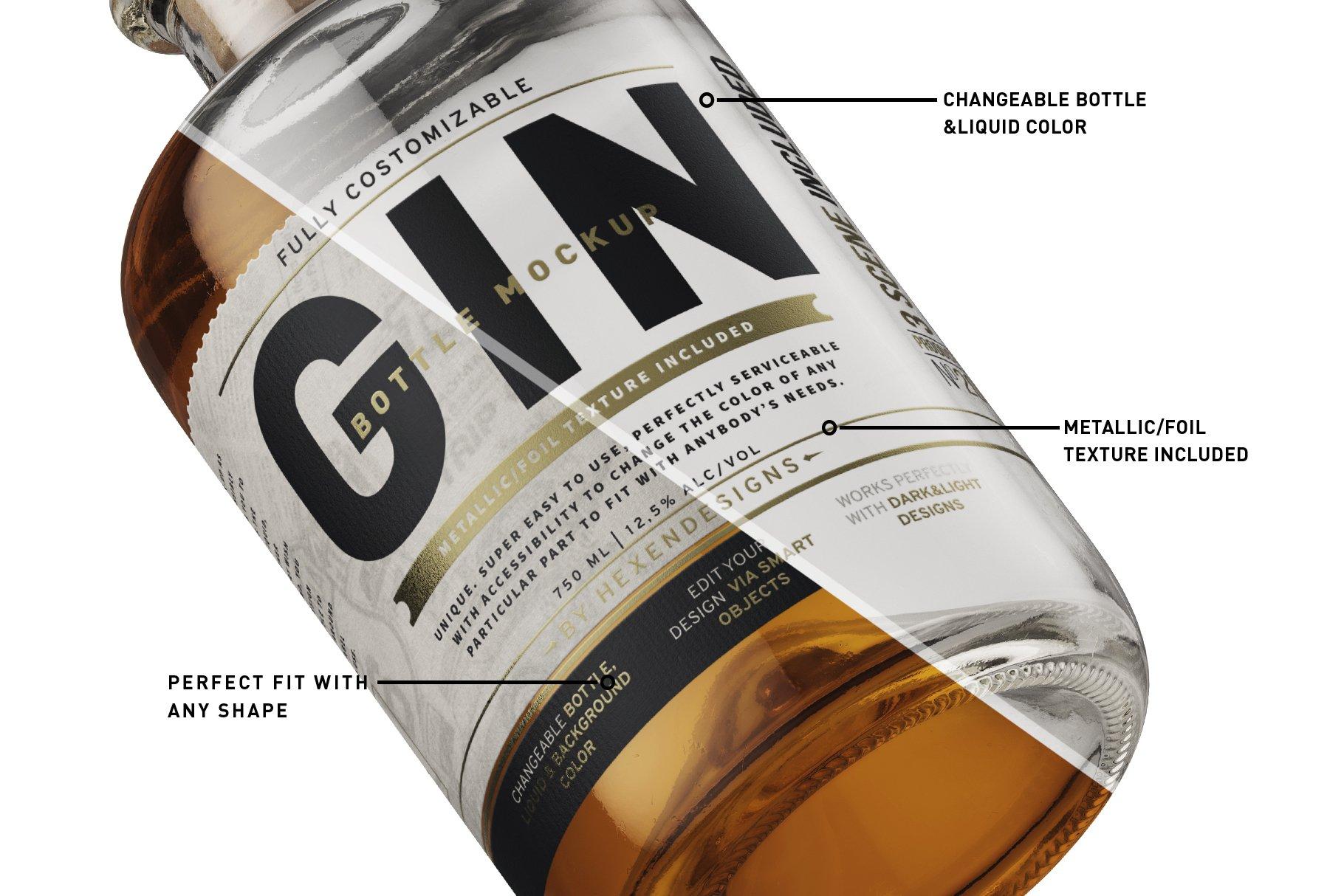 杜松子玻璃酒瓶标签设计展示样机模板 Gin Bottle Mockup插图(2)