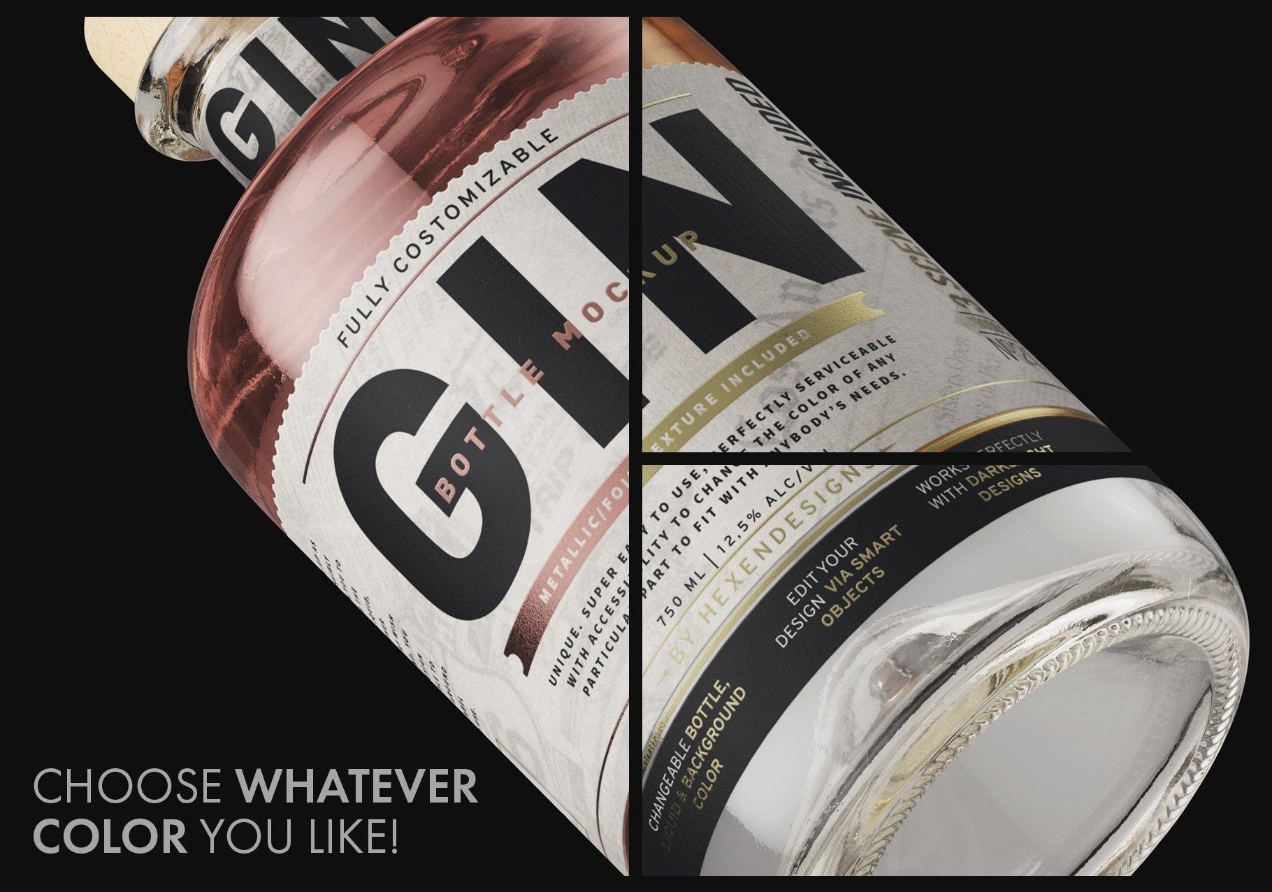 杜松子玻璃酒瓶标签设计展示样机模板 Gin Bottle Mockup插图(3)